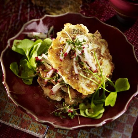 Navetten-Blinis mit Portulak-Salat