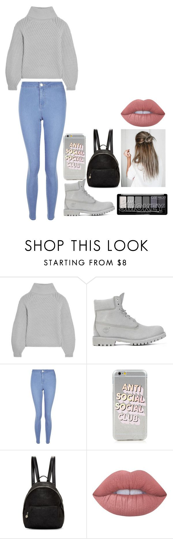 """""""Everything is grey"""" by ifrancesconi on Polyvore featuring Iris & Ink, Timberland, New Look, STELLA McCARTNEY and Lime Crime"""