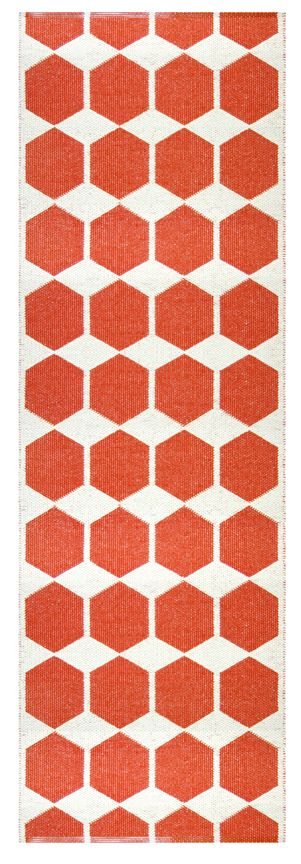 Brita Sweden Anna Plastic Rugs: Kitchens, Tangerine Runners, Runners Rugs, Geometric Patterns, Color Orange Happy, Huset Shops Com, Floors Brita Sweden, Hexagons Non Quilts, Anna Plastic