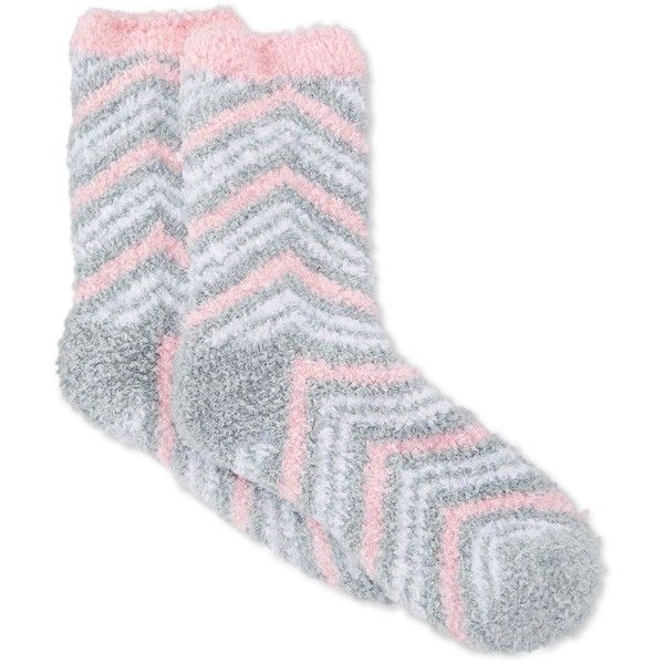 Charter Club Women's Butter Super Soft Double Zigzag Pop Socks ($7.50) ❤ liked on Polyvore featuring intimates, hosiery, socks, light grey, fuzzy socks, zig zag socks and charter club