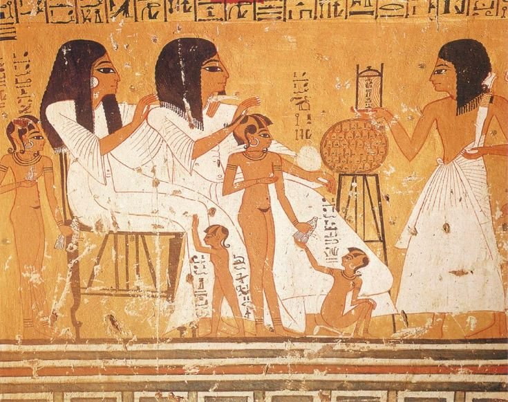 Anhour Khaou, Chief Builder at Thebes, Seated with His Wife and Grandchildren wall painting from the tomb of Anhour Khaou, Thebes (20th Dynasty: 1200-1080 BC)