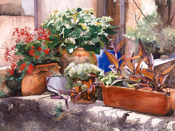 Selection of flowerpots on a wall, Watercolour Giclée print. £60.00, via Etsy.