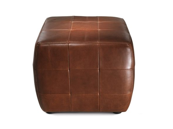 Club Ottoman | Bay Leather Republic | A small cube ottoman can be used as a footstool or as additional seating. The patchwork leather detailing gives this simple shape its style and design.