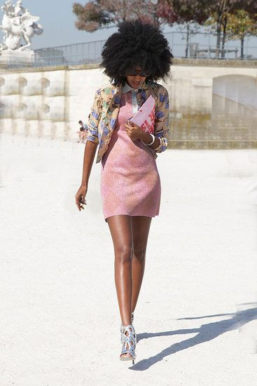 Paris Street Style: Wonderland editor Julia Sarr-Jamois worked it in pretty light pink hues.