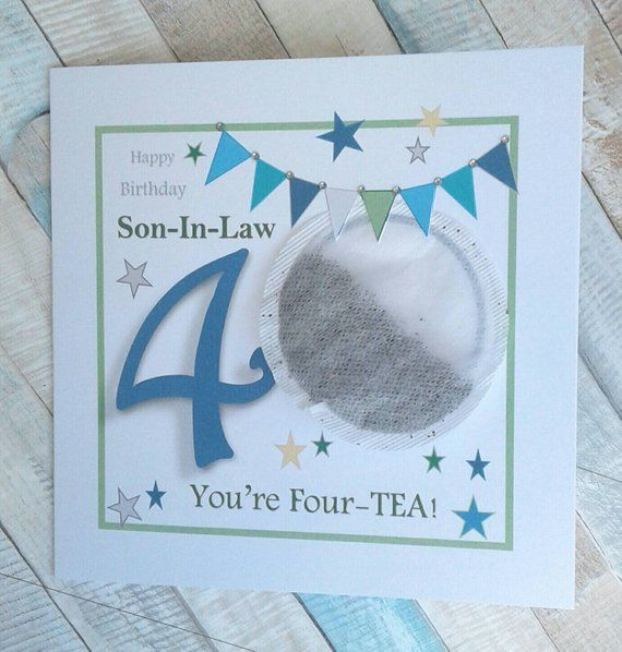 Personalised 40th Birthday Card Son In Law 40th Birthday Etsy Birthday Cards Happy 40th Birthday 40th Birthday Cards