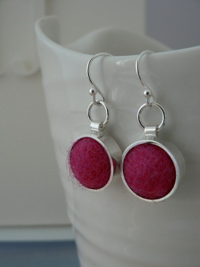 Funky Felt Earrings - Pink