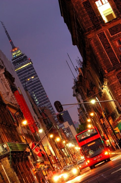 DownTown -  Mexico City. Drank in the bar at the top of that big building...