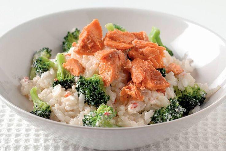 Kijk wat een lekker recept ik heb gevonden op Allerhande! Romige risotto met broccoli en zalm