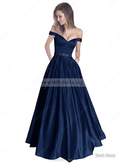 c9e6dd1f2 Ball Gown Off-the-shoulder Satin with Beading Floor-length Prom Dress   Milly020104578