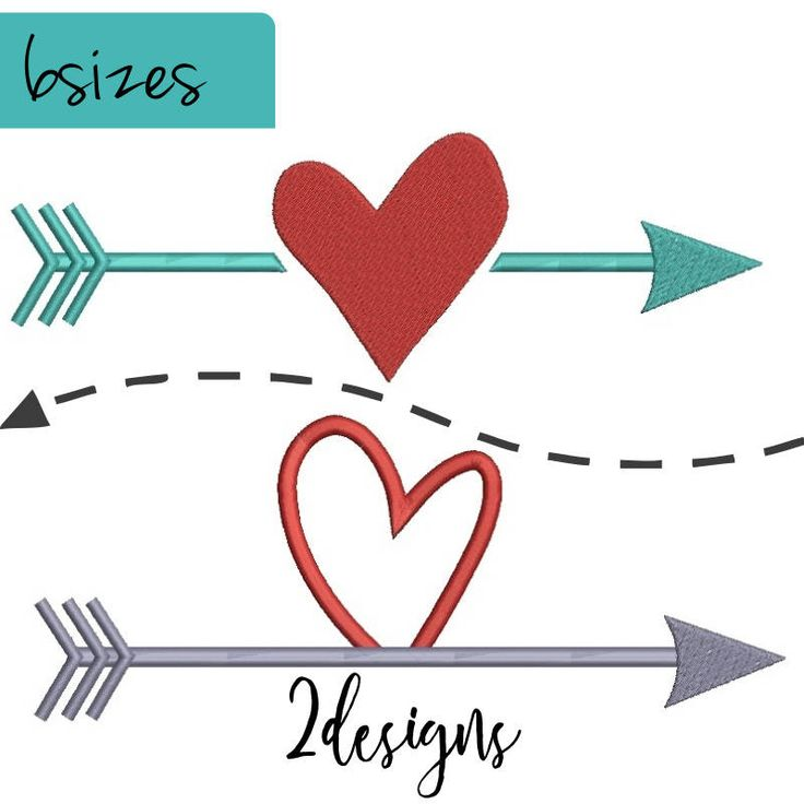 Embroidery designs Valentines heart arrow instant digital download pattern in the hoop pes file towel Valentine's day by SvgEmbroideryDesign on Etsy