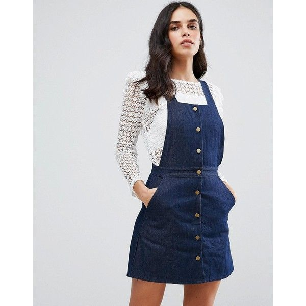 Goldie Street Smart Denim Pinafore Dress (£35) ❤ liked on Polyvore featuring dresses, blue, pinny dress, blue pinafore dress, square neck dress, denim dress and blue square neck dress