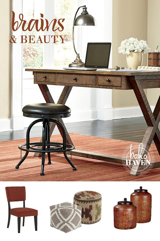 expressing your great sense of style while you work is easy with the minbreeze home office desk boho haven ashley furniture home office