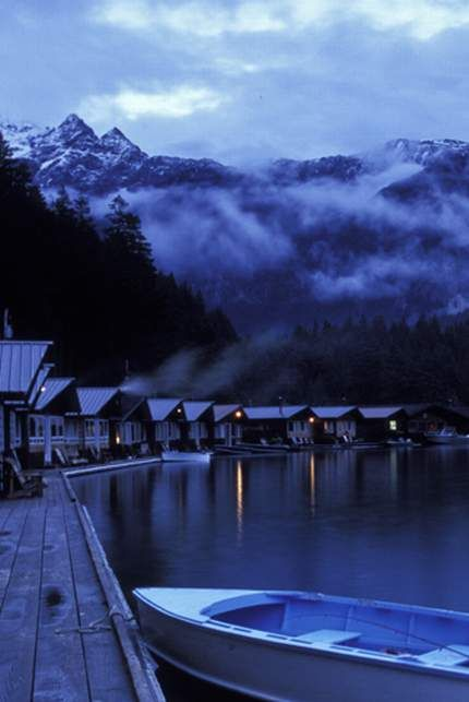The isolated Ross Lake Resort in upper Washington. These floating cabins can only be accessed by boat or by a hiking trail.