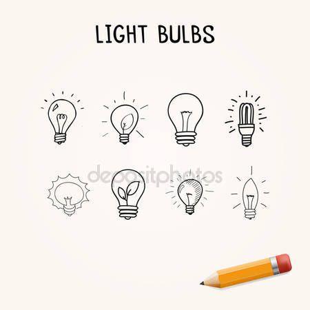 Conjunto de lâmpadas desenhadas à mão, ícones de doodle