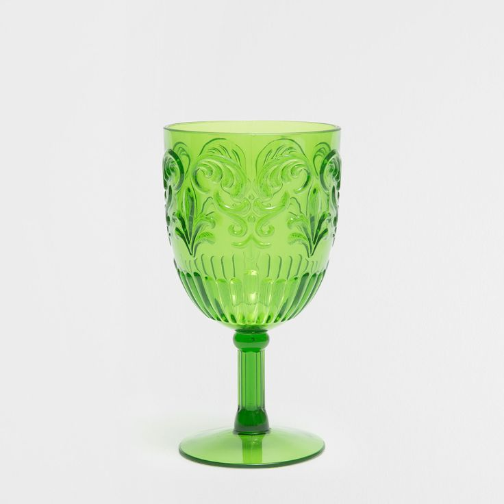 GREEN RAISED DESIGN GOBLET - Picnic Collection - Beach & Picnic | Zara Home United Kingdom