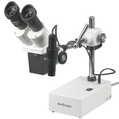 AmScope SE420Z Professional Binocular Stereo Microscope, WF10x and WF20x Eyepieces, 20X and 40X Magnification, 2X Objective, Tungsten Lighting, Boom-Arm Stand, 110V-120V Professional stereo microscope with boom arm has long working distance to enables users to perform work or manipulate large items, including circuit boards and dental appliancesBinocular viewing head with interchangeable pairs of 10x and 20x widefield eyepieces, adjustable interpupillary distance, and fixed 45-degr..