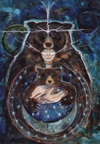 The Art of Cathy McClelland - Inner Circle (mother and son bear medicine surrounds us ) ki