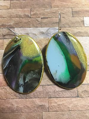 Handcrafted Polymer & Resin Drop Earrings Multicolor, Green Gold Black Blue Oval  | eBay