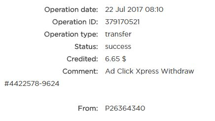 """22.07.2017. Every day, ACX Tripler getting bigger and stronger! You can make a great profit only if you try.I tried and here is my Withdrawal Proof from AdClickXpress.This is not a scam and I love making money online with Ad Click Xpress.""""https://twitter.com/Hajdana13/status/889221216392892420"""