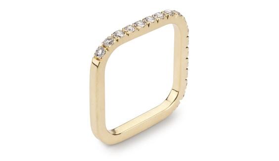 Handmade 18t yellow gold half eternity diamond pave set square ring