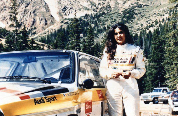 MM Pikes Peak 1985 Mouton with her Audi Quattro Sport S1. A smoldering fireball of a lady.