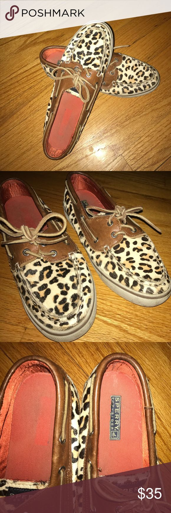 Sperry calf hair leopard top Siders Sperry top siders leopard calf hair shoes. Size 8 Women's. Some signs of wear but still look very good. Sperry Top-Sider Shoes Flats & Loafers