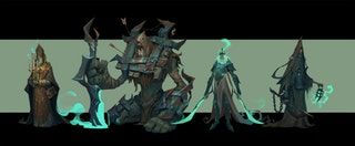 Personal practice (left to right: the Pontiff, the Watchdog, the King, the Jailer) by Noodle Li : ImaginaryMonsters