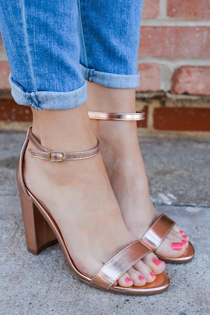 Faux Leather Open Toe Buckle Accent Rose Gold Heels Devie-02 – UOIOnline.com: Women's Clothing Boutique