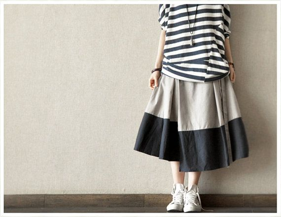 Causel Loose  Cotton Big Long Women Skirt Long by clothingshow, $45.00