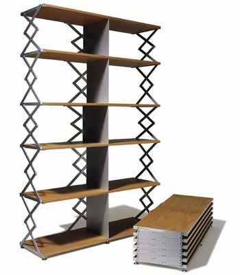 Scissor Self Unit is another piece of furniture that is excellent for small places or for those who move often.As you can see this unit can be reduced to a