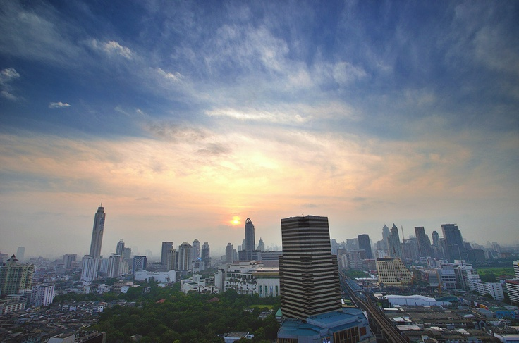 One morning in Bangkok. From the top roof of Mercure Bangkok Siam hotel.