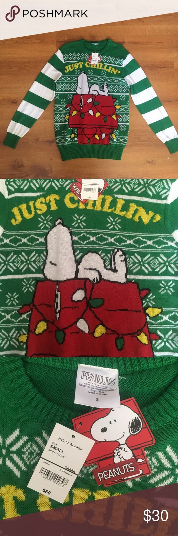 """NWT Peanuts ugly Christmas cardigan This sweater screams """"ugly Christmas sweater party"""" it was originally purchased for just that! Never worn, new with tags, this sweater is a must for both a peanuts lover and a lover of ugly Christmas sweaters! hybrid apparel Sweaters Cardigans"""