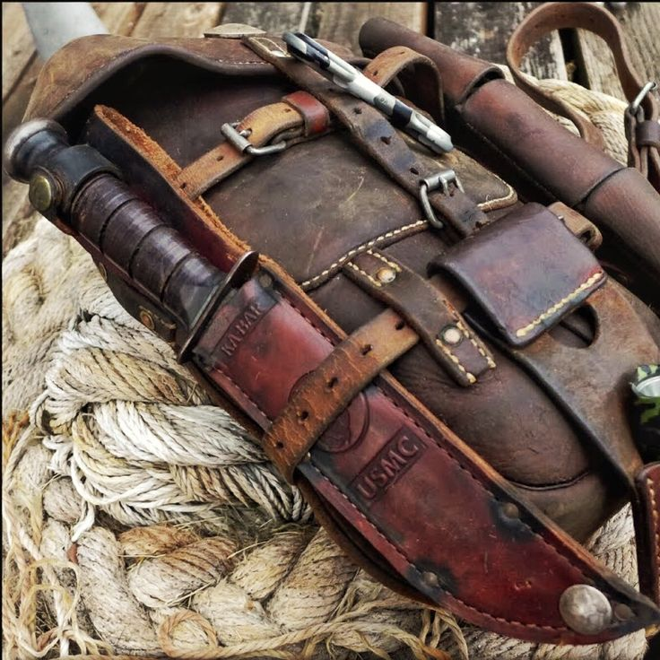Vintage Swiss Army Leather Cavalry Pack Bushcraft