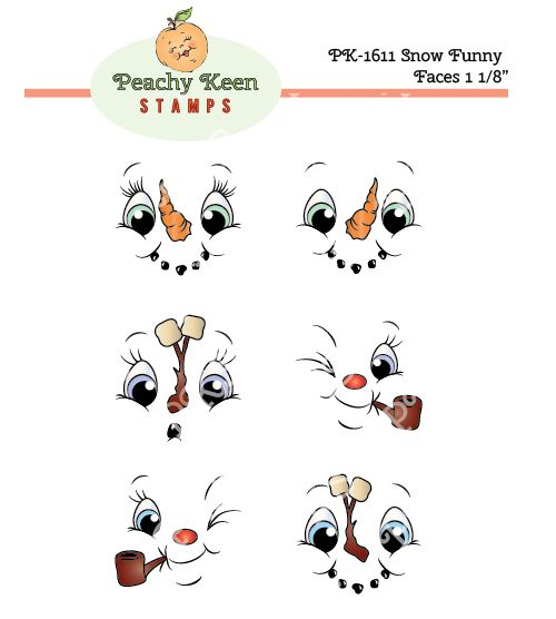 PK-1611 Snow Funny Face Stamps 1-1/8th inch: Peachy Keen Stamps | Home of the original clear, peach-tinted, high-quality whimsical face stamps.