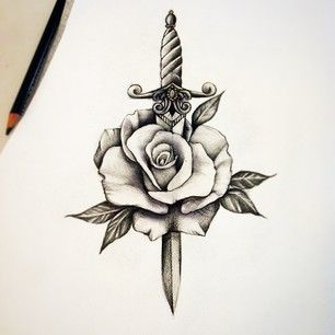 rose dagger traditional sailor jerry tattoo                              …