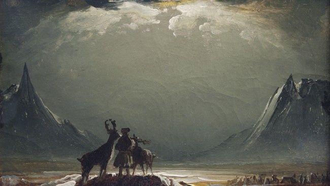 Landskap fra Finnmark med same og reinsdyr - Peder Balke