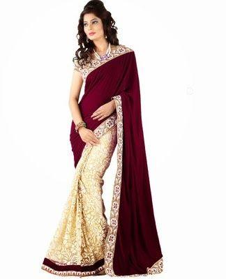 Stylo Self Design Fashion Net, Silk Sari In Rs.1860 (73% Off)