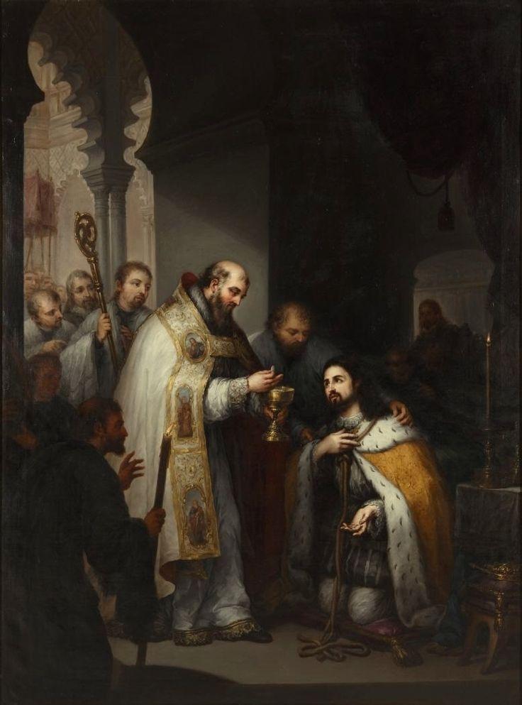 La obra representa la última comunión del rey Fernando III de Castilla († 1252), apodado el Santo
