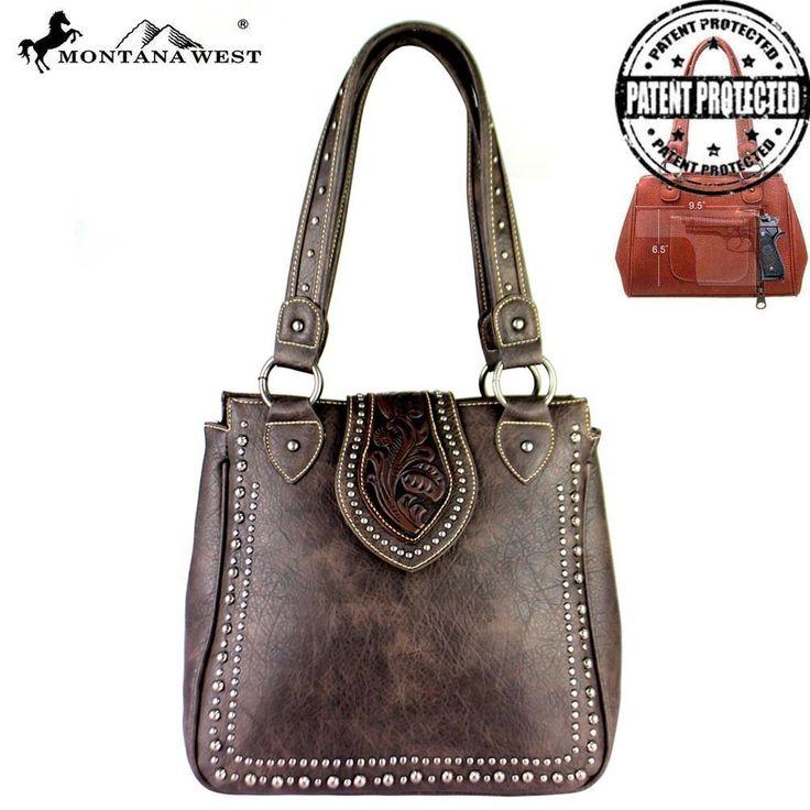 New Montana West Coffee Dual Sided Concealed Handgun CCW Handbag Purse Cowgirl  #MontanaWest #ShoulderBag