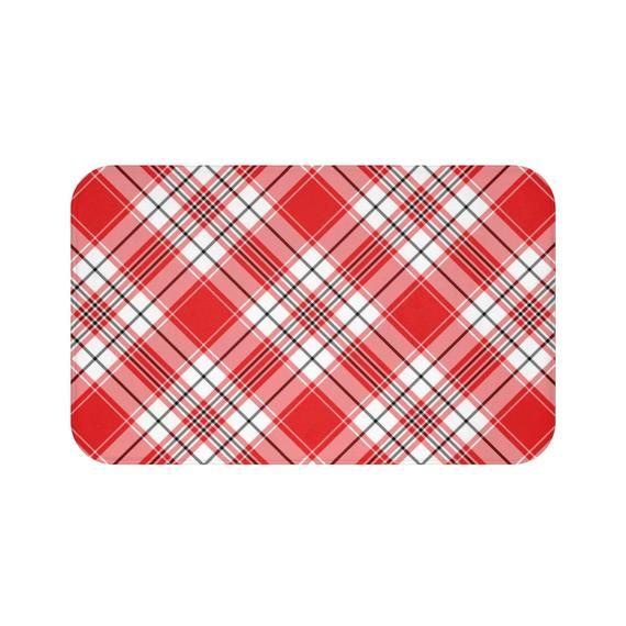 Express Yourself With This Dramatic Red And White Plaid Bath Mat
