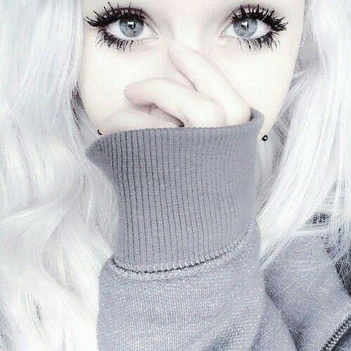 Bleach blonde white hair