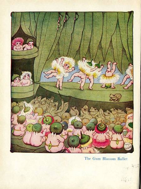 The Gum Blossom Ballet, frontispiece, from Snugglepot and Cuddlepie: their adventures wonderful , 1918