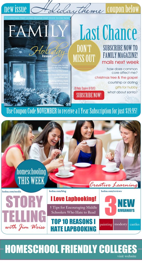 Get six issues of Home Educating Family Magazine for only $19.95 with this coupon! via hedua.com #homeschool