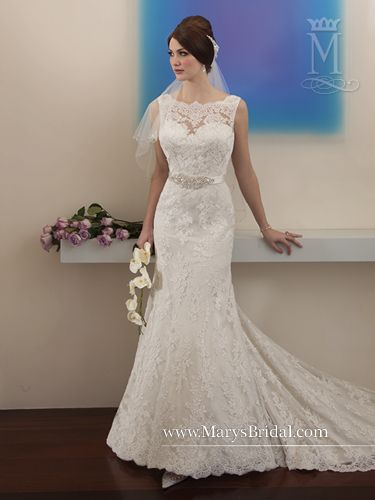 An all-over lace sheath bridal gown with bateau neckline, satin belt at natural waistline with beading ornament at center front and a bow tie in the back, and a chapel train.