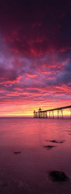 Sunset in Clevedon Pier, Somerset, England