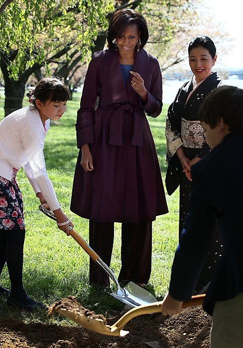 Michelle Obama wearing custom Peter Som in Washington DC at the National Cherry Blossom Festival.