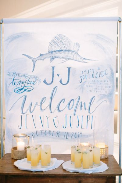 Nautical sign: http://www.stylemepretty.com/new-jersey-weddings/rumson/2015/04/24/nautical-chic-summer-wedding-at-rumson-country-club/ | Photography: Love & Light - http://loveandlightphotographs.com/
