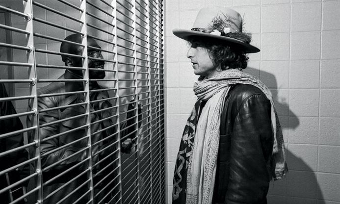 """Bob Dylan meets Rubin """"Hurricane"""" Carter, wrongly convicted murderer and subject of his 1975 song """"Hurricane."""""""