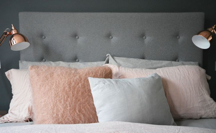 I recently did a quick makeover to my spare bedroom using the color palette of dark grey, light pink and copper. Check out my new look!