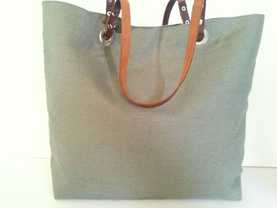 Olive green natural linen tote bag with leather by LadybagShop, €65.00